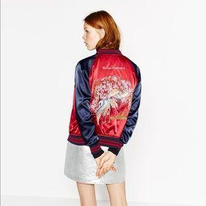 Zara Reversible Satin Bomber Jacket